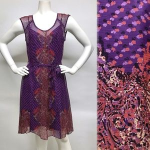 NANETTE LEPORE Printed Silk Dress wSlip & Sash 8 6